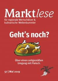 """Cover der Marktlese Nummer 51. Titel: """"Geht's noch – Über einen zeitgemäßen Umgang mit Fleisch."""""""
