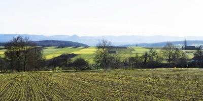 Blick auf die Schwäbische Alb von Waldorfhäßlach.