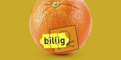 """Orange mit Warnhinweis """"giftig"""" und einem Preisschild auf dem """"billig"""" steht."""