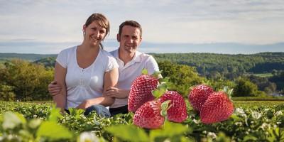 Das Ehepaar Seemann sitzt in einem Erdbeerfeld.