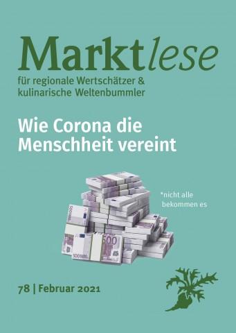 """Cover der Marktlese 02/2021 """"Wie Corona die Menschheit vereint"""""""