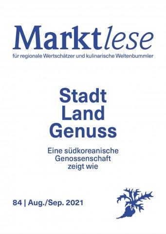 """Cover der Marktlese 08-09/2021 """"Stadt Land Genuss."""""""