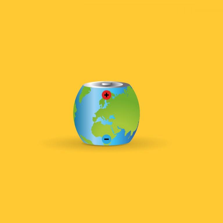 Eine Erde, die als Batterie dargestellt ist.